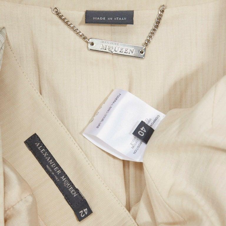 runway ALEXANDER MCQUEEN SS04 Deliverance patchwork blazer jacket skirt set S For Sale 7