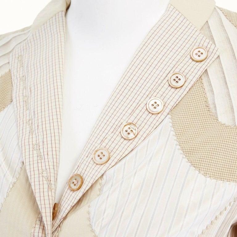 runway ALEXANDER MCQUEEN SS04 Deliverance patchwork blazer jacket skirt set S For Sale 4