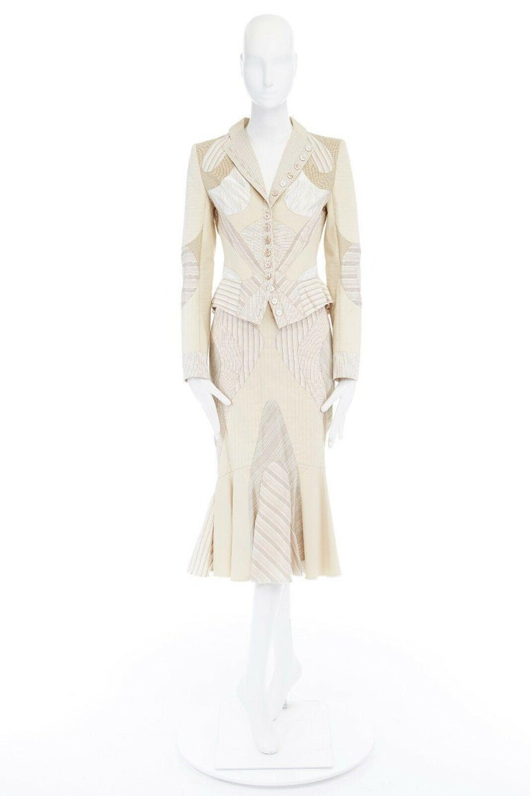 runway ALEXANDER MCQUEEN SS04 Deliverance patchwork blazer jacket skirt set S In Excellent Condition For Sale In Hong Kong, NT