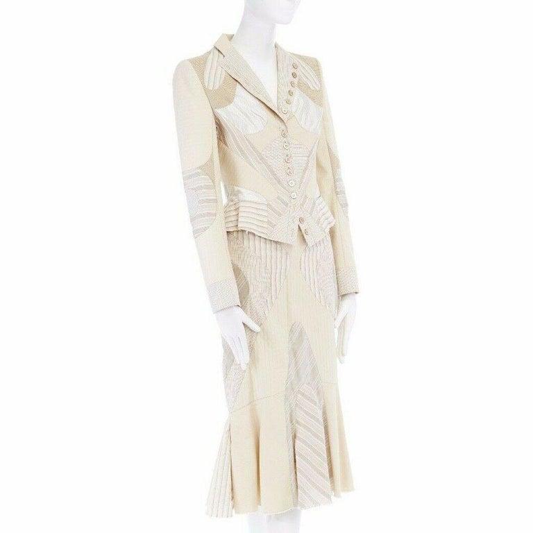 Women's runway ALEXANDER MCQUEEN SS04 Deliverance patchwork blazer jacket skirt set S For Sale