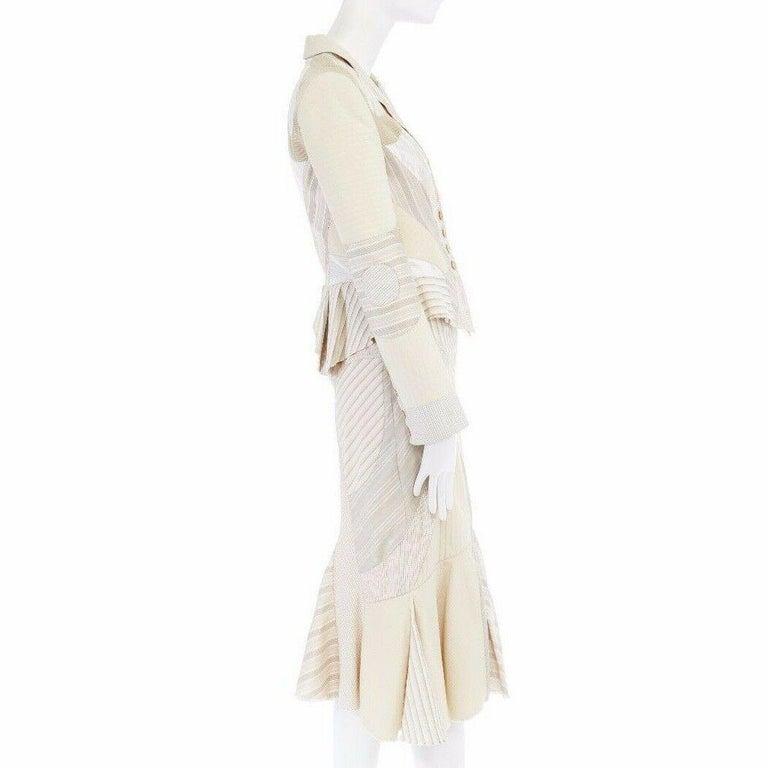 runway ALEXANDER MCQUEEN SS04 Deliverance patchwork blazer jacket skirt set S For Sale 1