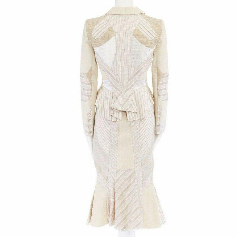runway ALEXANDER MCQUEEN SS04 Deliverance patchwork blazer jacket skirt set S For Sale 2