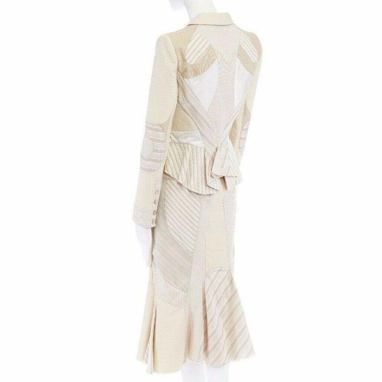 runway ALEXANDER MCQUEEN SS04 Deliverance patchwork blazer jacket skirt set S For Sale 3
