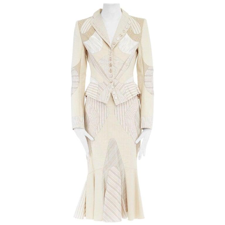 runway ALEXANDER MCQUEEN SS04 Deliverance patchwork blazer jacket skirt set S For Sale