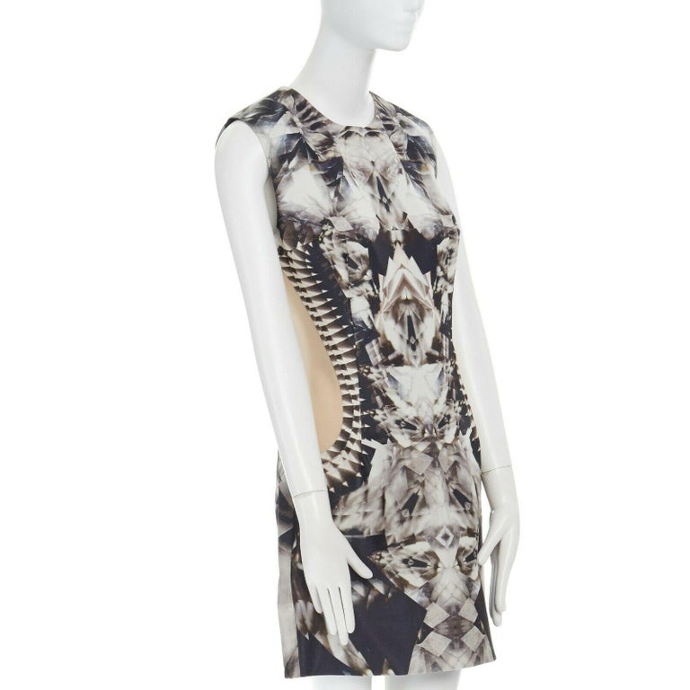 Women's runway ALEXANDER MCQUEEN SS09 silver kaleidoscope skeleton illusion mesh dress M For Sale
