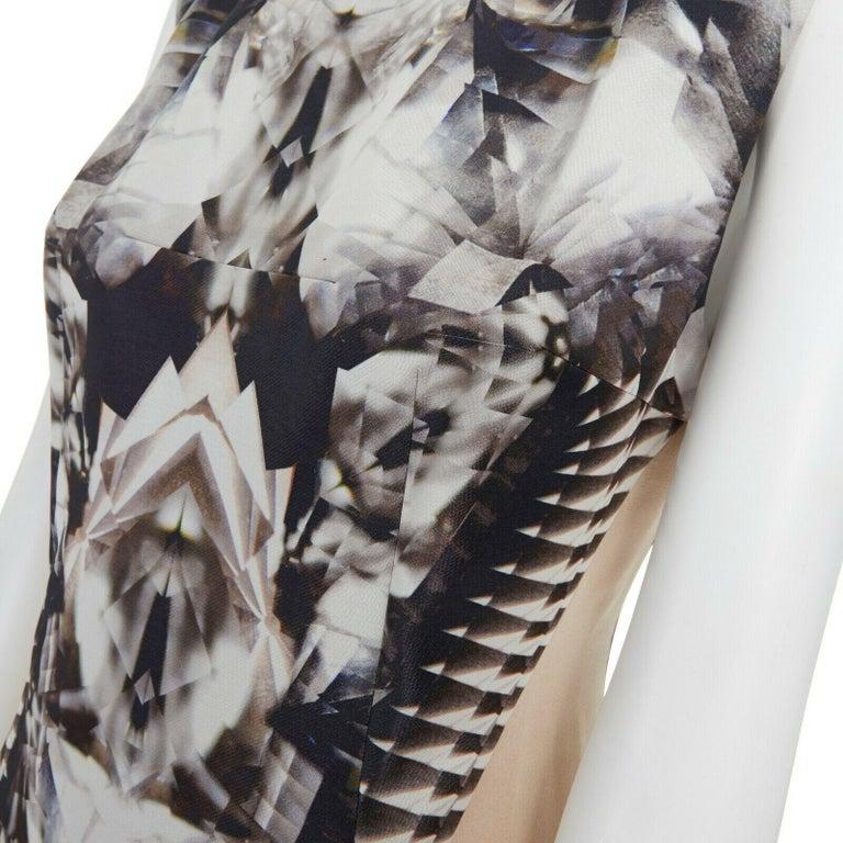 runway ALEXANDER MCQUEEN SS09 silver kaleidoscope skeleton illusion mesh dress M For Sale 5