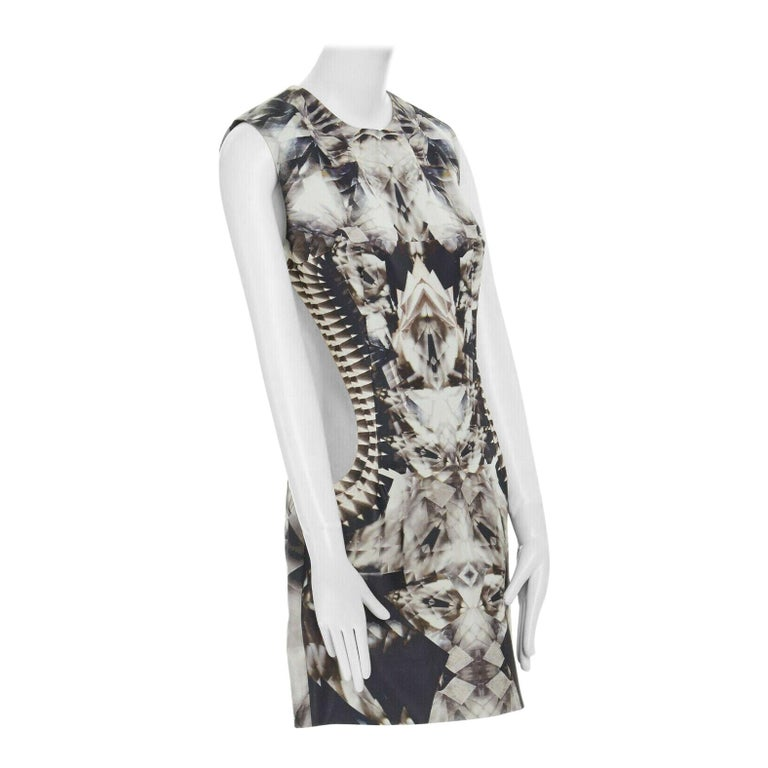 runway ALEXANDER MCQUEEN SS09 silver kaleidoscope skeleton illusion mesh dress M For Sale