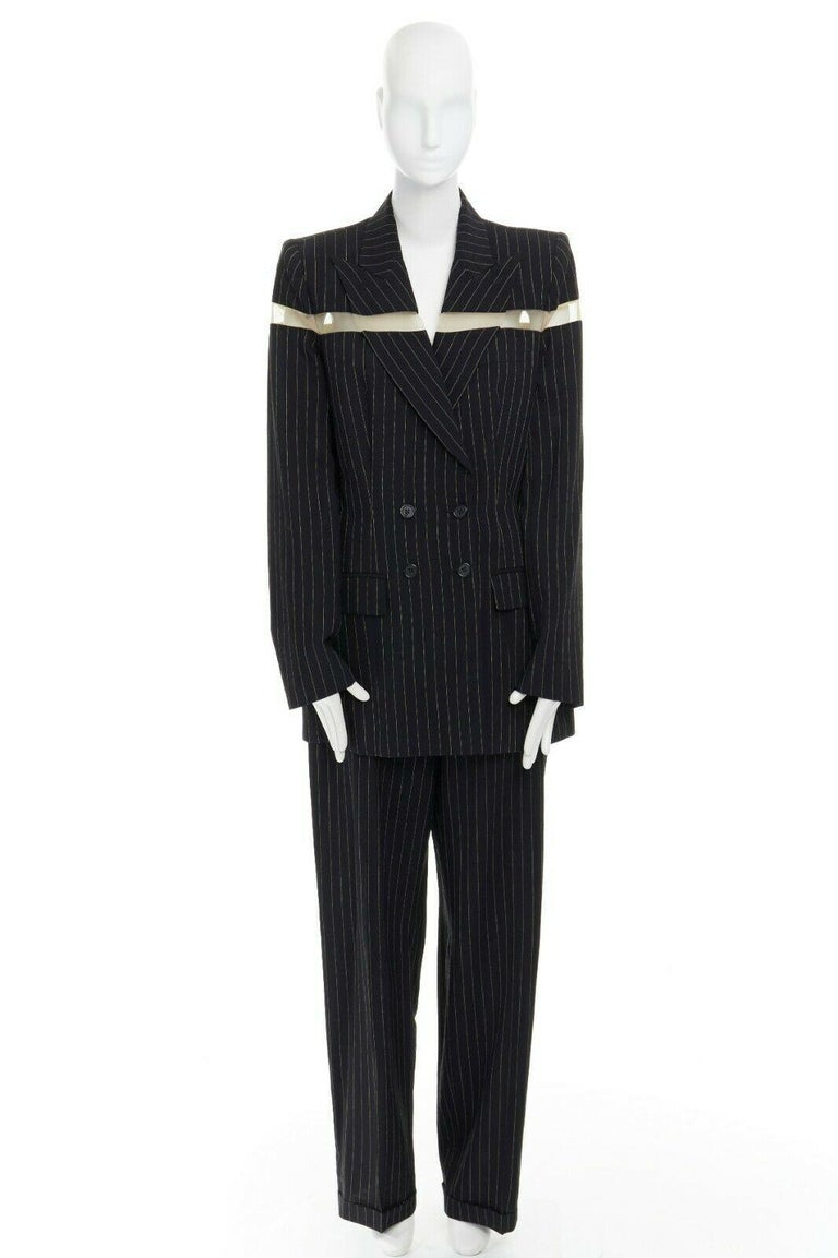 runway ALEXANDER MCQUEEN SS1998 vintage deconstructed jacket pant suit IT46 L In Excellent Condition For Sale In Hong Kong, NT