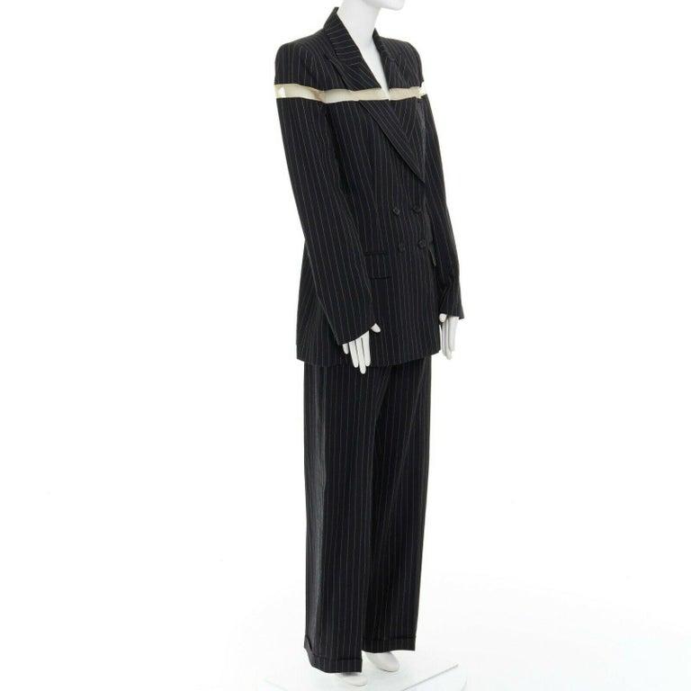 Women's runway ALEXANDER MCQUEEN SS1998 vintage deconstructed jacket pant suit IT46 L For Sale