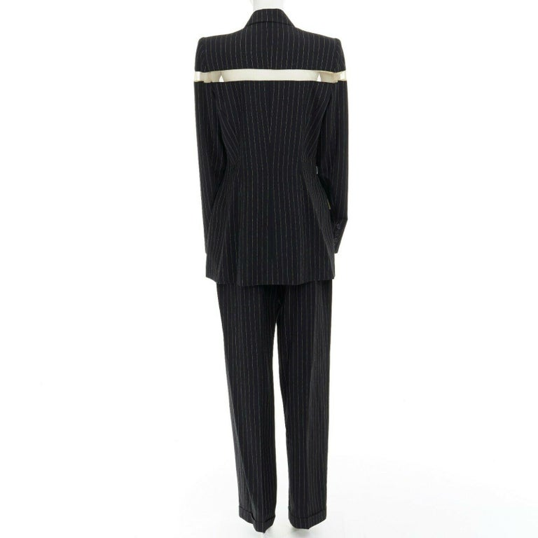 runway ALEXANDER MCQUEEN SS1998 vintage deconstructed jacket pant suit IT46 L For Sale 2