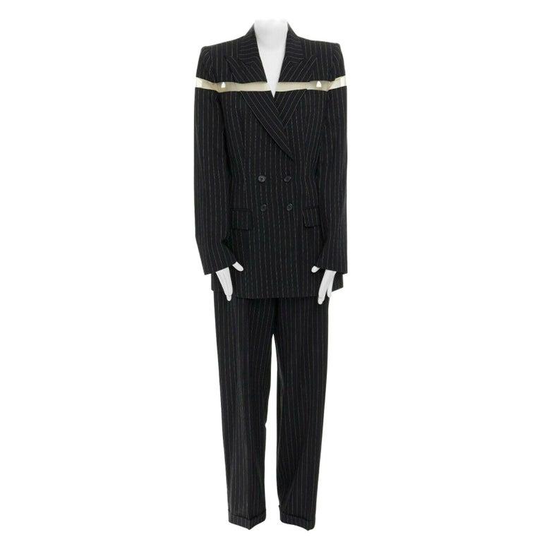 runway ALEXANDER MCQUEEN SS1998 vintage deconstructed jacket pant suit IT46 L For Sale