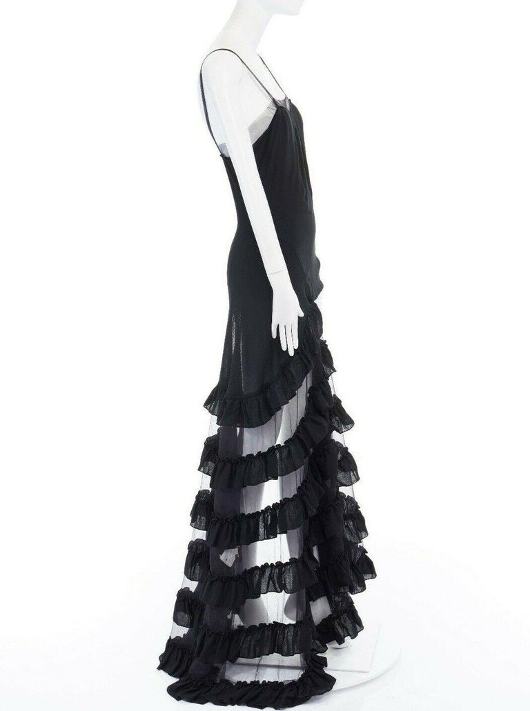 runway ALEXANDER MCQUEEN SS99 black asymmetric ruffle train top maxi gown IT40 S For Sale 1