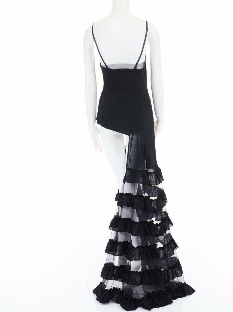 runway ALEXANDER MCQUEEN SS99 black asymmetric ruffle train top maxi gown IT40 S For Sale 2