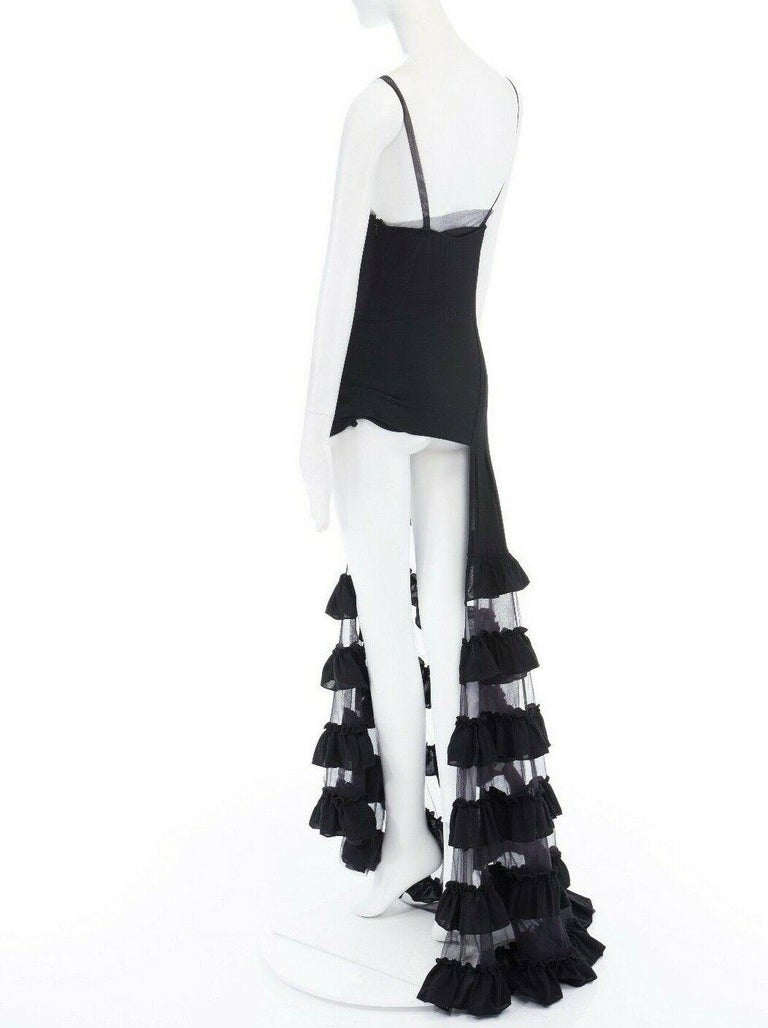 runway ALEXANDER MCQUEEN SS99 black asymmetric ruffle train top maxi gown IT40 S For Sale 4