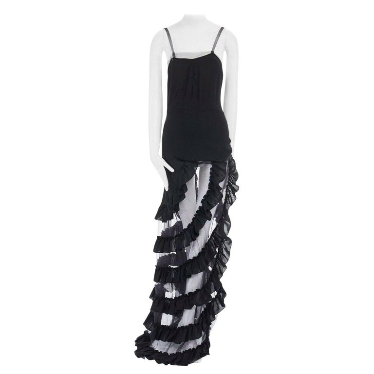 runway ALEXANDER MCQUEEN SS99 black asymmetric ruffle train top maxi gown IT40 S For Sale
