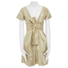 runway ALEXANDER MCQUEEN Vintage SS06 gold bow cocktail dress IT38 US0 UK6 S