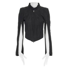runway ANN DEMEULEMEESTER black leather convertible zip sleeves crop jacket XS
