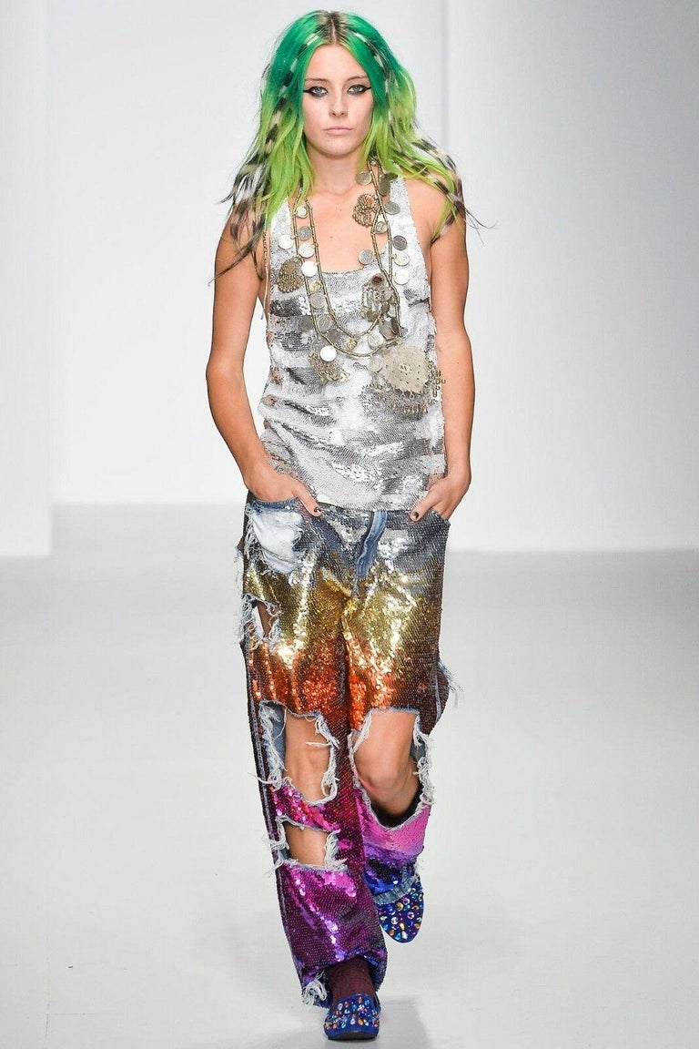 Silver runway ASHISH SS14 silver stripe sequined embellished silk tank top S US4 UK10 For Sale