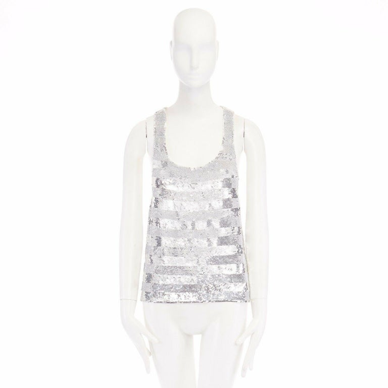 runway ASHISH SS14 silver stripe sequined embellished silk tank top S US4 UK10 In Excellent Condition For Sale In Hong Kong, NT