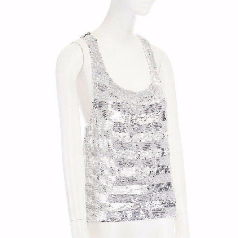 Women's runway ASHISH SS14 silver stripe sequined embellished silk tank top S US4 UK10 For Sale