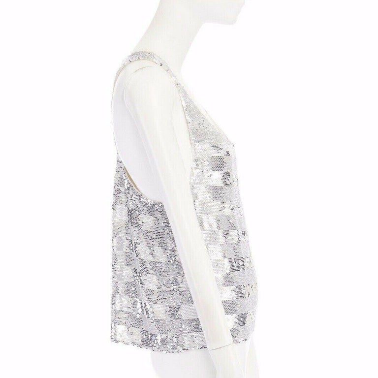 runway ASHISH SS14 silver stripe sequined embellished silk tank top S US4 UK10 For Sale 1