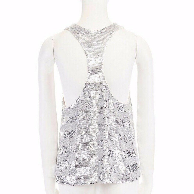 runway ASHISH SS14 silver stripe sequined embellished silk tank top S US4 UK10 For Sale 2