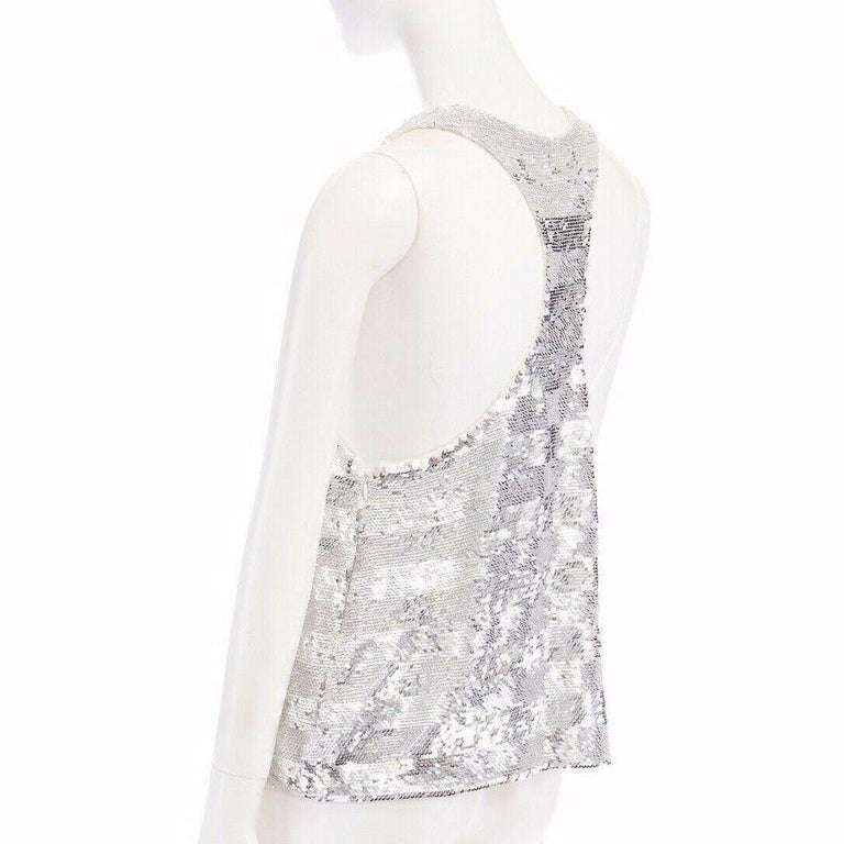 runway ASHISH SS14 silver stripe sequined embellished silk tank top S US4 UK10 For Sale 3