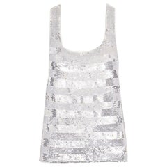 runway ASHISH SS14 silver stripe sequined embellished silk tank top S US4 UK10