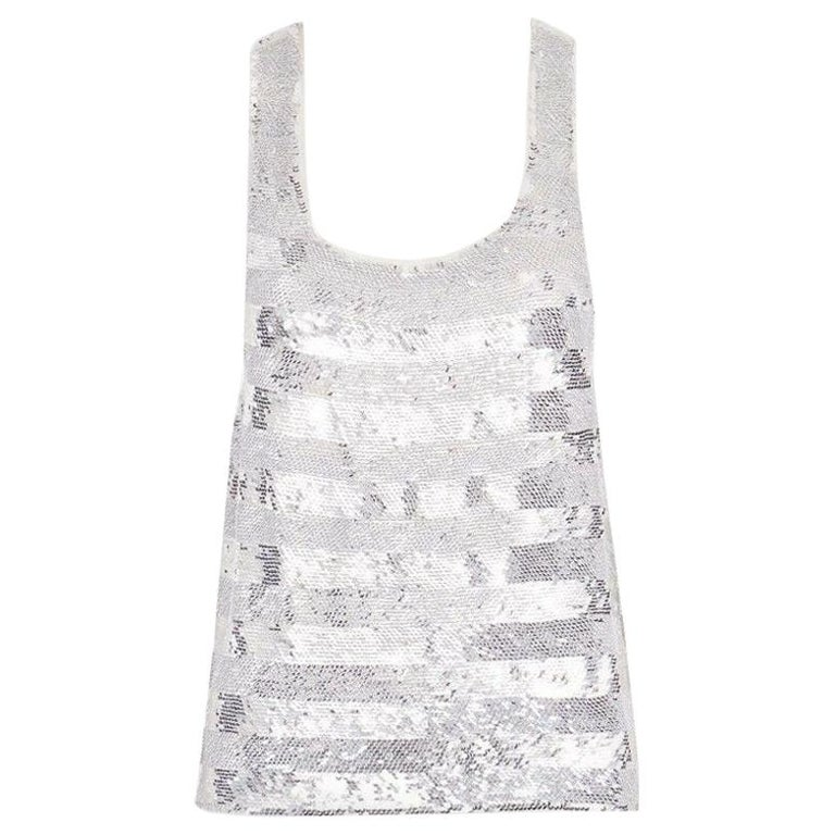 runway ASHISH SS14 silver stripe sequined embellished silk tank top S US4 UK10 For Sale