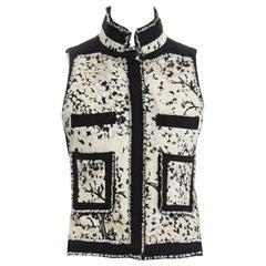 runway BALENCIAGA GHESQUIERE 2008 black white wool jacquard raw edge vest IT38 S
