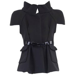 runway BALENCIAGA GHESQUIERE AW06 black structured neoprene wool jacket FR40