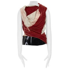 runway BALENCIAGA GHESQUIERE AW08 red draped velvet corset top FR38 US6 UK10