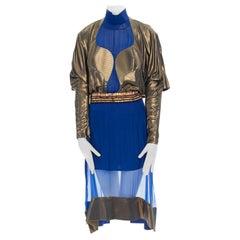 runway BALENCIAGA GHESQUIERE AW12 blue copper futuristic bust silk dress FR36 S