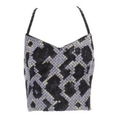 runway BALENCIAGA GHESQUIERE AW12 blue python wool bustier top FR38 US6 UK10