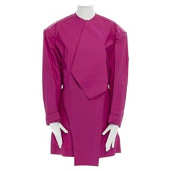 runway BALENCIAGA GHESQUIERE AW12 fuchsia silk cotton trench coat dress top FR38