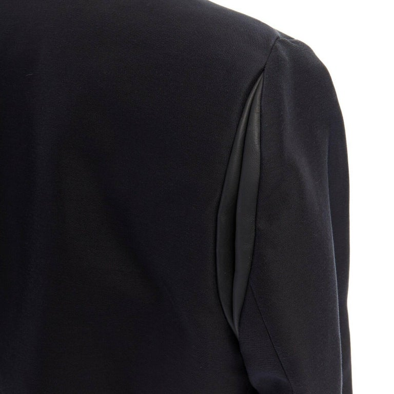 runway BALENCIAGA GHESQUIERE SS12 black leather panel collarless jacket FR34 XS For Sale 5