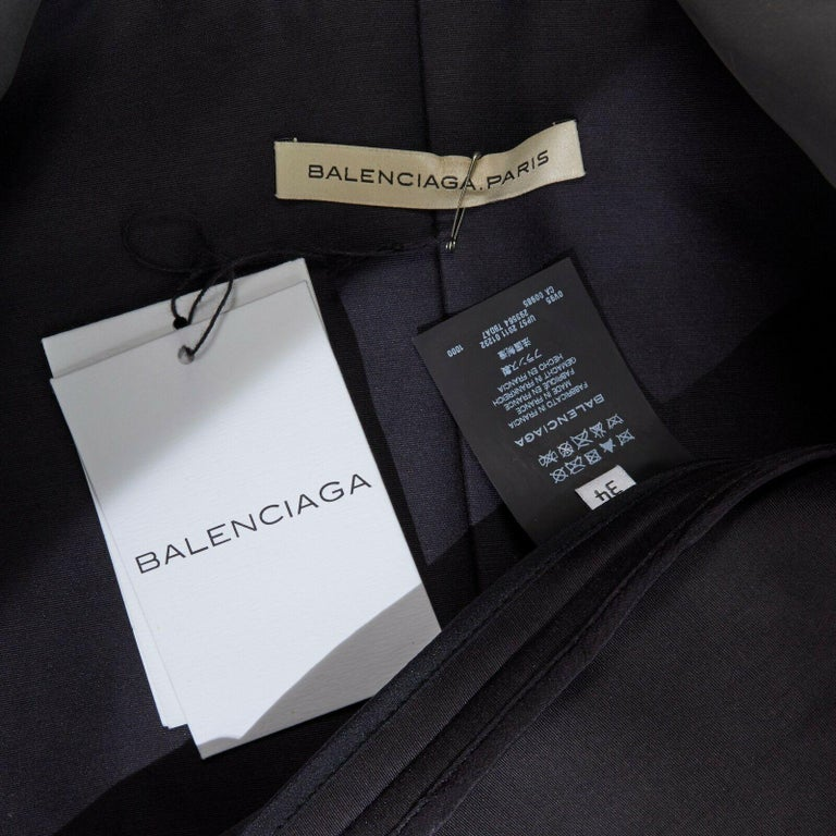runway BALENCIAGA GHESQUIERE SS12 black leather panel collarless jacket FR34 XS For Sale 6
