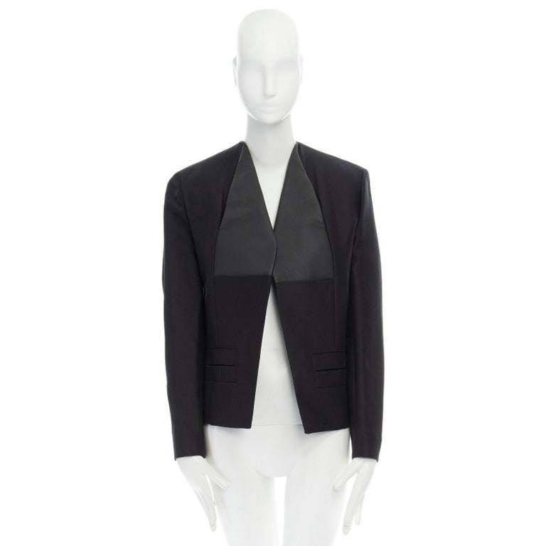 Black runway BALENCIAGA GHESQUIERE SS12 black leather panel collarless jacket FR34 XS For Sale