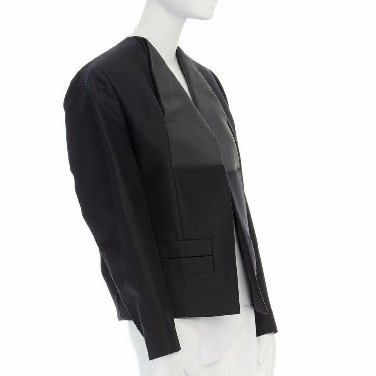 runway BALENCIAGA GHESQUIERE SS12 black leather panel collarless jacket FR34 XS In Good Condition For Sale In Hong Kong, NT