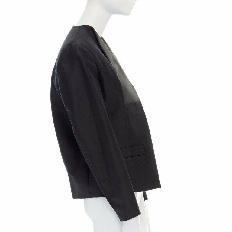 Women's runway BALENCIAGA GHESQUIERE SS12 black leather panel collarless jacket FR34 XS For Sale