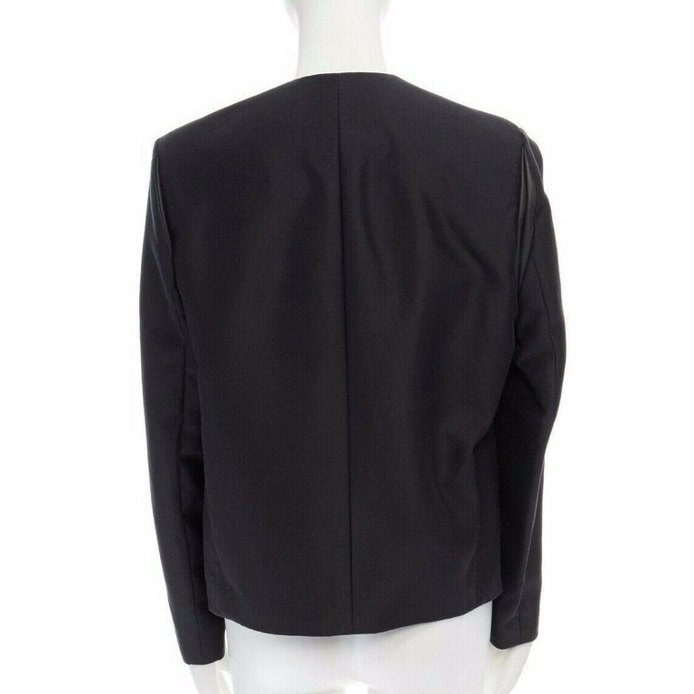 runway BALENCIAGA GHESQUIERE SS12 black leather panel collarless jacket FR34 XS For Sale 1