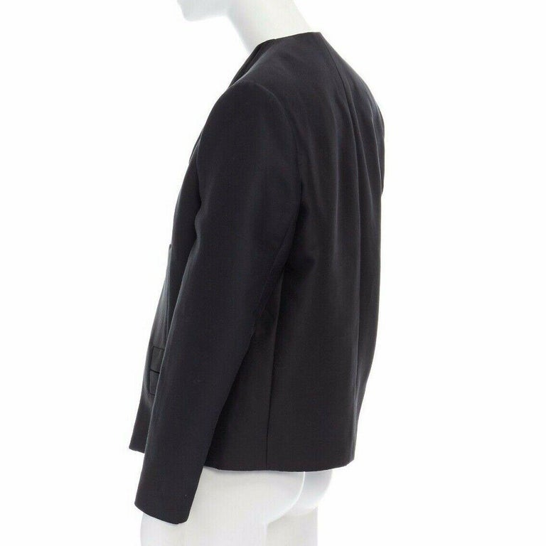 runway BALENCIAGA GHESQUIERE SS12 black leather panel collarless jacket FR34 XS For Sale 2