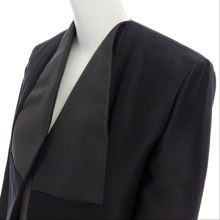 runway BALENCIAGA GHESQUIERE SS12 black leather panel collarless jacket FR34 XS For Sale 3