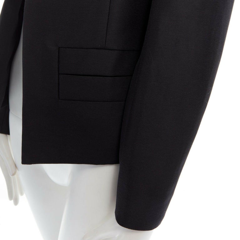 runway BALENCIAGA GHESQUIERE SS12 black leather panel collarless jacket FR34 XS For Sale 4