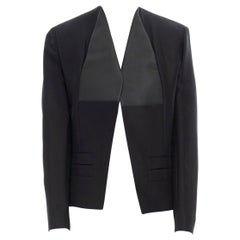 runway BALENCIAGA GHESQUIERE SS12 black leather panel collarless jacket FR34 XS