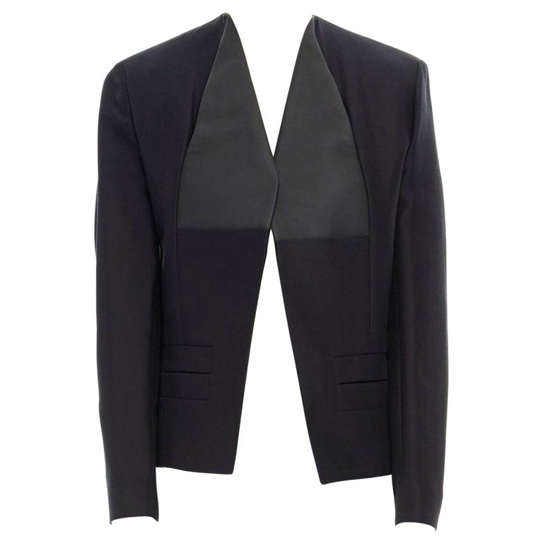 runway BALENCIAGA GHESQUIERE SS12 black leather panel collarless jacket FR34 XS For Sale