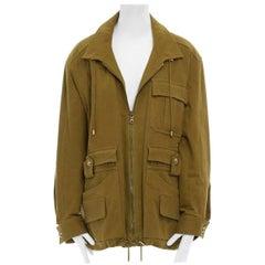 runway BALMAIN 2014 green stretch military cargo pockets oversized jacket FR40 L