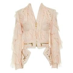 runway BALMAIN 2018 pink knit ruffle trimmed zip detached hem biker jacket FR36
