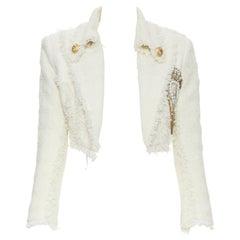 runway BALMAIN ivory white tweed crystal pearl brooch cropped blazer jacket FR34