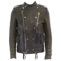 runway BALMAIN ROUSTEING green quilted leather motorcycle biker jacket EU48 M